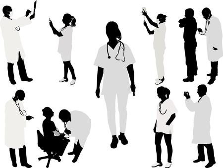black nurse: doctor and patient silhouette - vector illustration 1