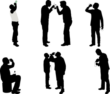 glass water: men drinking silhouettes - vector