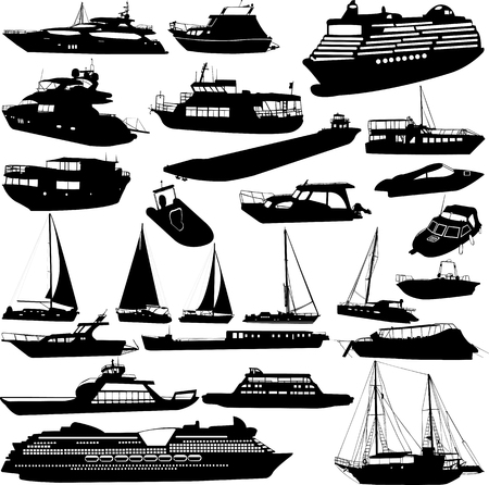Ships and boats silhouettes  collection - vector