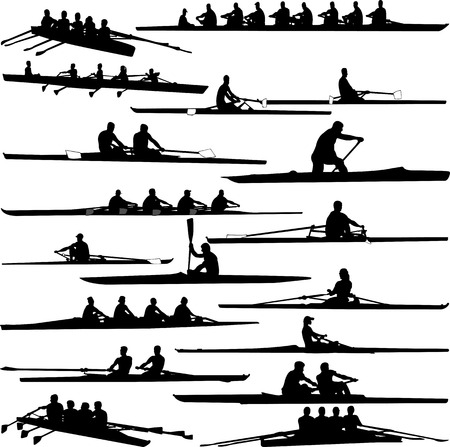 canoeing: rowing collection silhouettes - vector Illustration