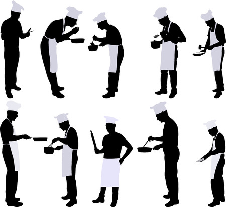Chef silhouet collectie - vector Stockfoto - 52999193