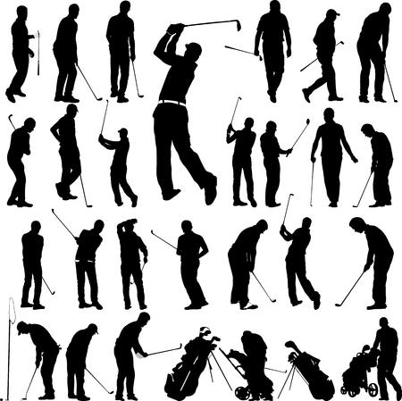 Golfspelers en apparatuur grote collectie - vector Stockfoto - 55758346