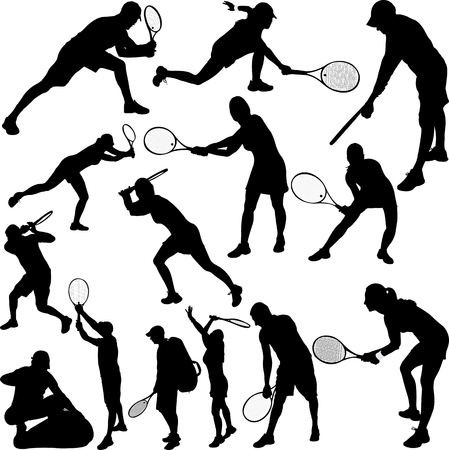 Tennis Players Silhouettes - Vector Ilustrace