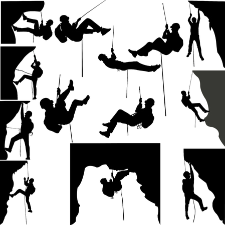 rescue: rock climbers silhouette collection - vector