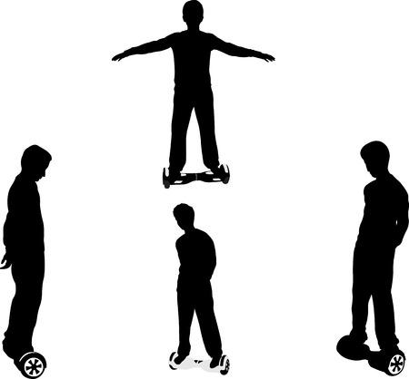 Jongen op zijn hoverboard - vector Stockfoto - 57627699