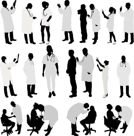 médecin et patient grande silhouette collection - vecteur