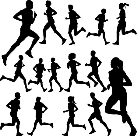 people running collection - vector