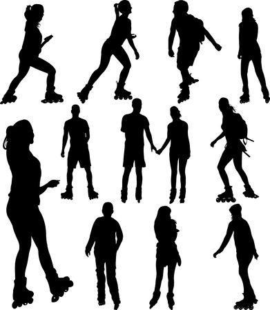 rollerblade silhouettes - vector