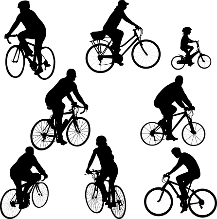 metal drawing: bicycle silhouettes collection vector