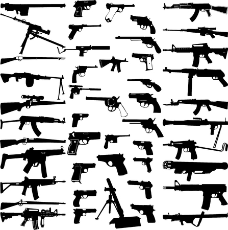 silencer: big weapons collection - vector Illustration