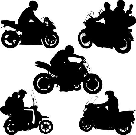silueta humana: motociclistas siluetas - vector Vectores