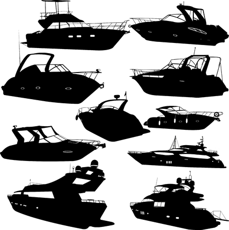 Motoryacht Sammlung Silhouetten - Vektor