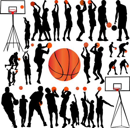 Basketbal spelers collectie vector Stock Illustratie