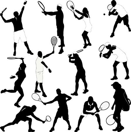 backhand: Tennis Players Collection Silhouettes - Vector