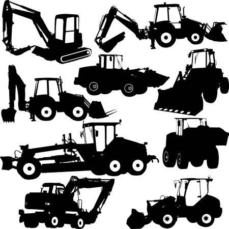 wheel loader: construction machines collection silhouettes - vector
