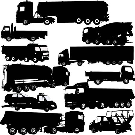truck silhouettes collection - vector Ilustrace