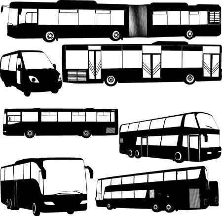 autobus and bus transport vector (city and traveling transport)