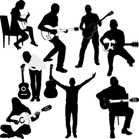 Conjunto de siluetas de la guitarra del jugador. imagen vectorial