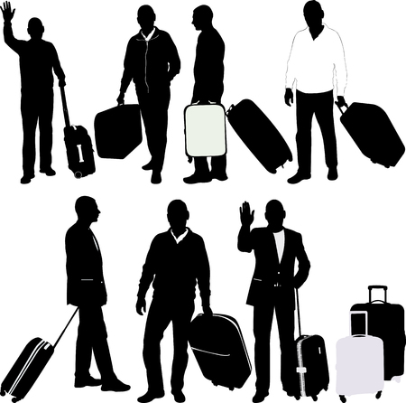 men with traveling bags - vector
