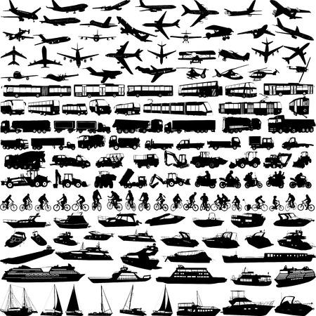 Transport große Sammlung Silhouetten - Vektor