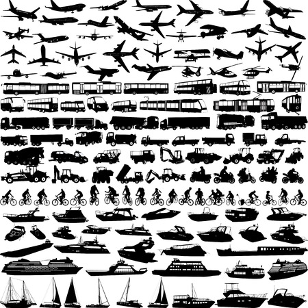 Transport grote collectie silhouetten - vector Stock Illustratie