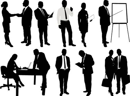 Business people silhouettes - vector