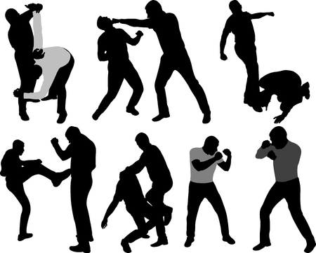 Street fight people silhouettes - vector Ilustrace