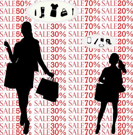 Frauen denken über das Einkaufen Silhouetten - Vektor