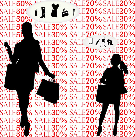 women think about shopping silhouettes - vector