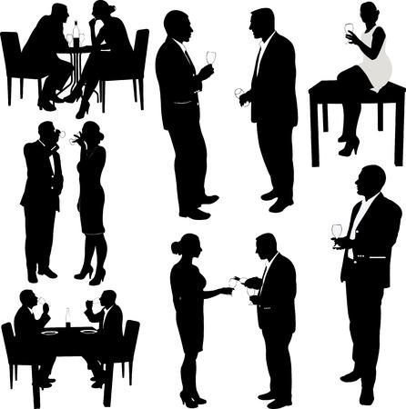 Frauen und Männer trinken Wein Silhouetten - Vektor Illustration