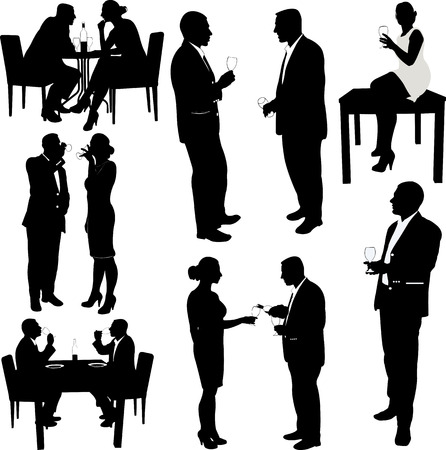 women and men drink wine silhouettes - vector Ilustrace