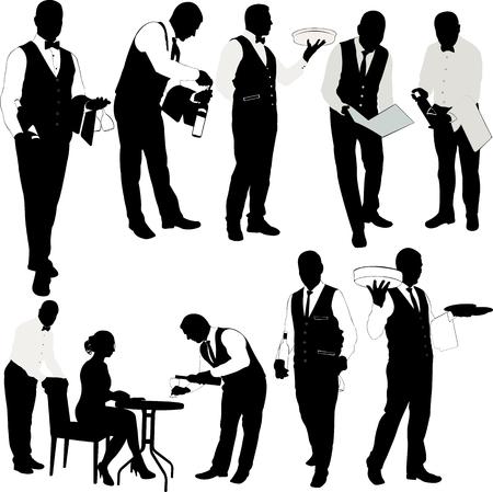 Kelner silhouet collectie - vector Stockfoto - 69249757