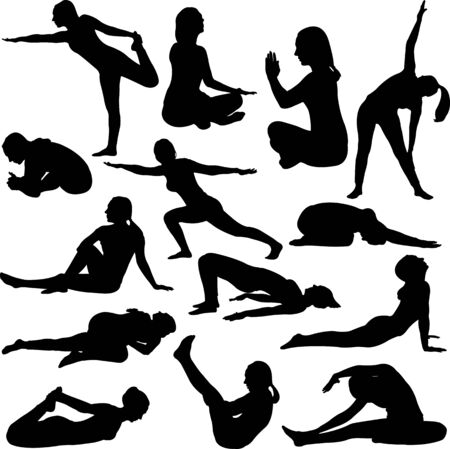 Yoga position silhouette set - vector