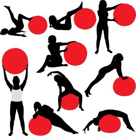 siluetas mujeres: las mujeres de Pilates colectina siluetas - vector