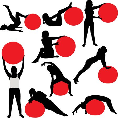 aerobics class: Pilates women collectin silhouettes - vector
