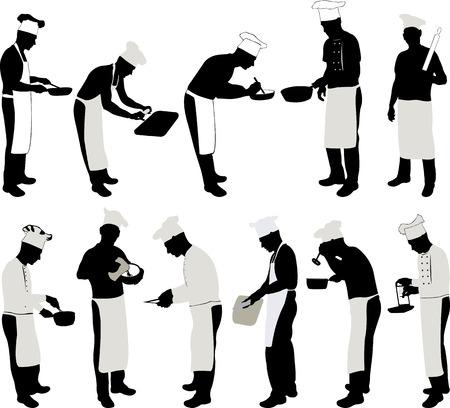 silueta hombre: Jefe de cocina de la silueta Conjunto - vector