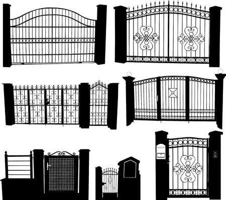 iron gates collection - vector Illustration