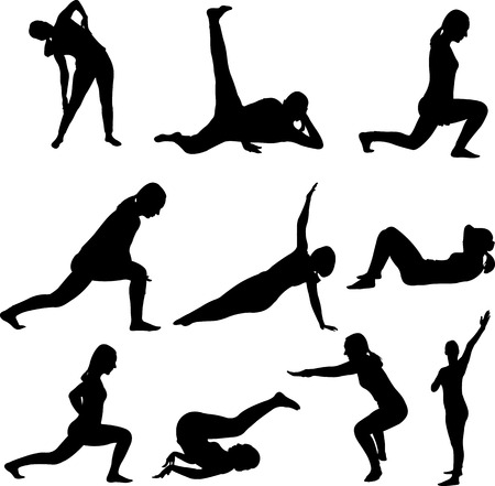 Frau macht Aerobic-Tanz-Fitness-Sport Silhouetten - Vektor Illustration