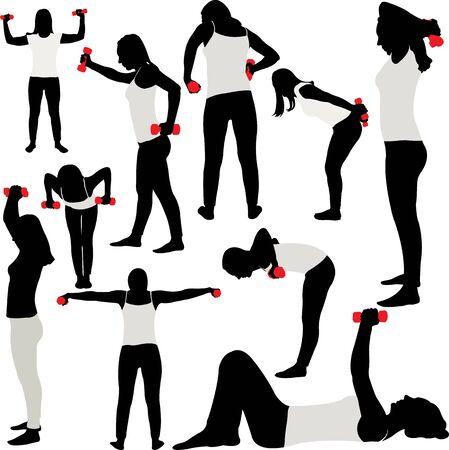 Frau macht Fitness-Sammlung - Vektor