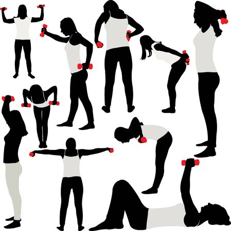Woman doing fitness collection - vector