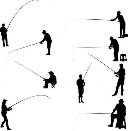 fishermen and fishing collection - vector