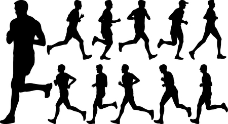men running silhouettes collection - vector