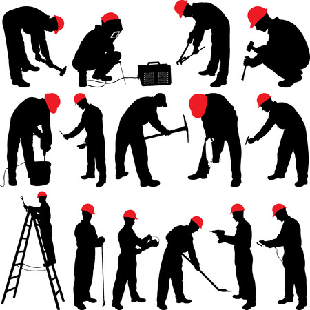 worker silhouettes collection - vector Ilustrace