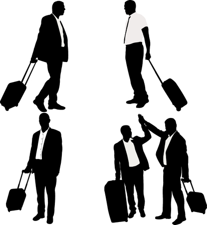 business men with traveling bags - vector