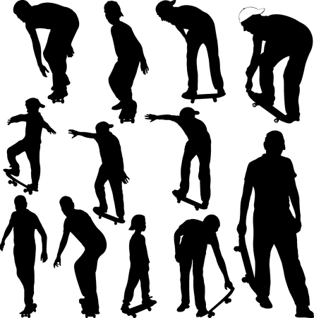 skateboarders collection silhouettes - vector Ilustrace