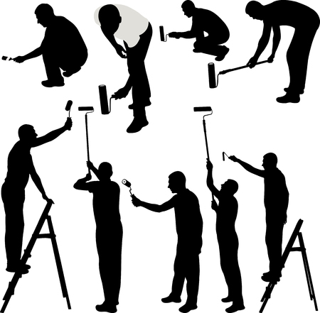 House painters silhouettes vector illustration.