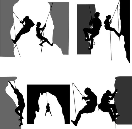 rock climbers silhouette - vector