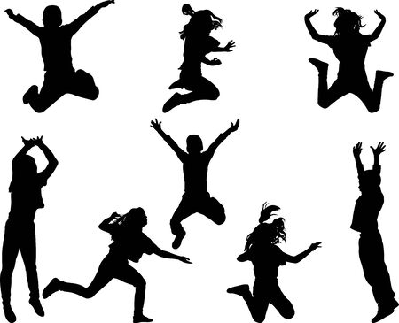 Happy children jumping silhouette-
