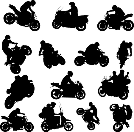 motorcyclists silhouettes collection - vector Ilustrace