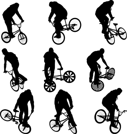 BMX Stunt Radfahrer Silhouetten - Vektor Illustration